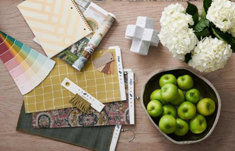interior design swatches, accents and color palete